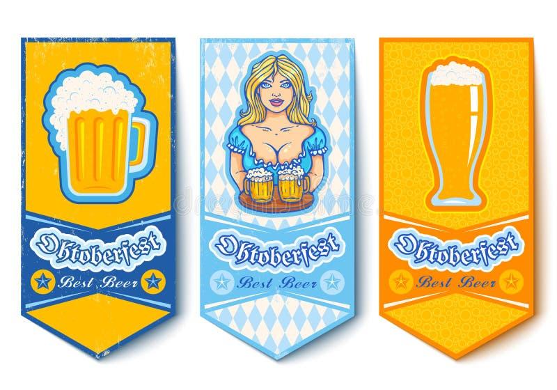 Banderas para Oktoberfest con la muchacha y las cervezas ilustración del vector