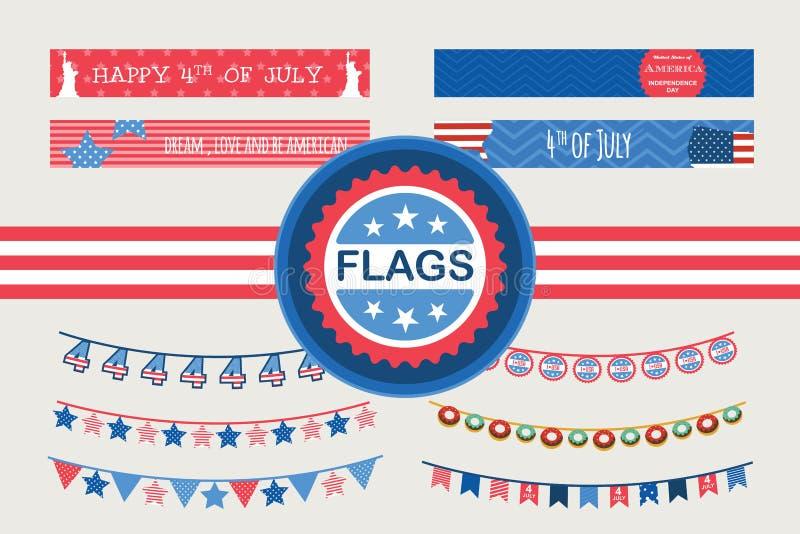 Banderas patrióticas del empavesado y banderas de la paja 4to de la bandera americana de julio para el Día de la Independencia libre illustration