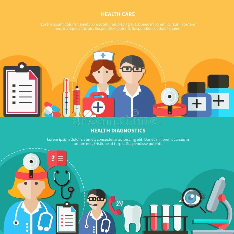 Banderas planas de la atención sanitaria ilustración del vector