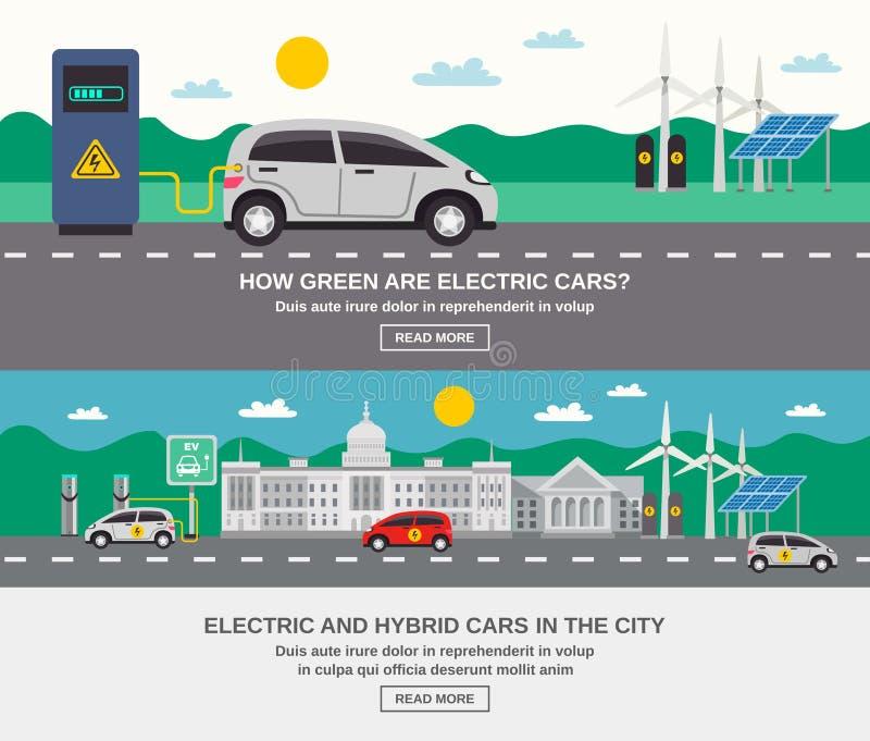 Banderas planas de la ciudad 2 del coche eléctrico ilustración del vector