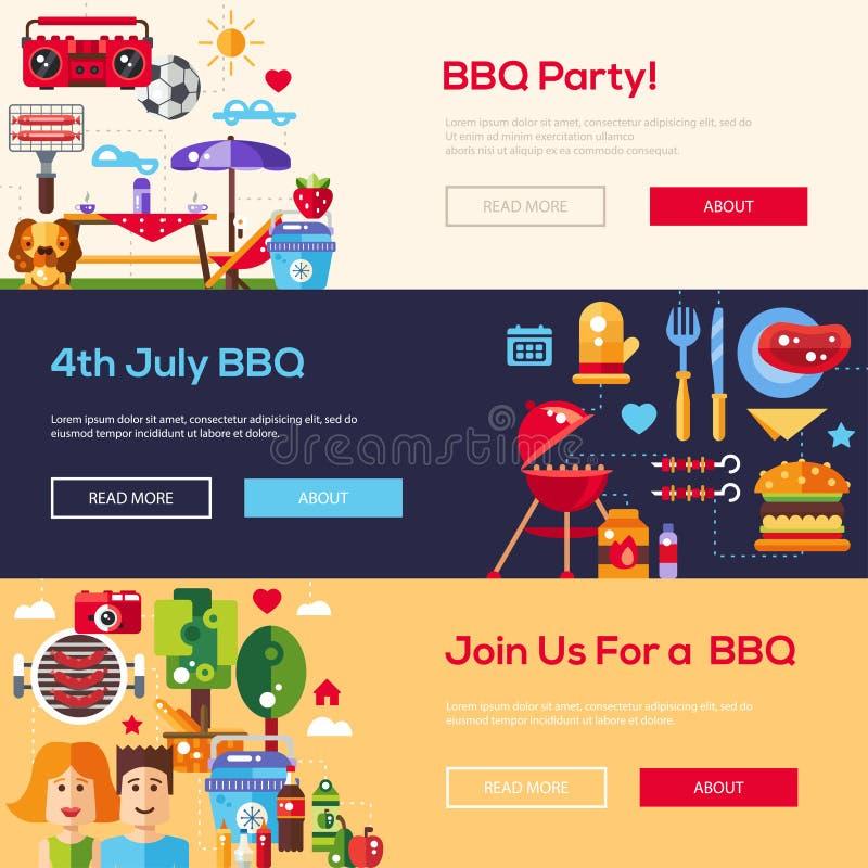 Banderas planas de la comida campestre de la barbacoa y del verano del diseño fijadas libre illustration