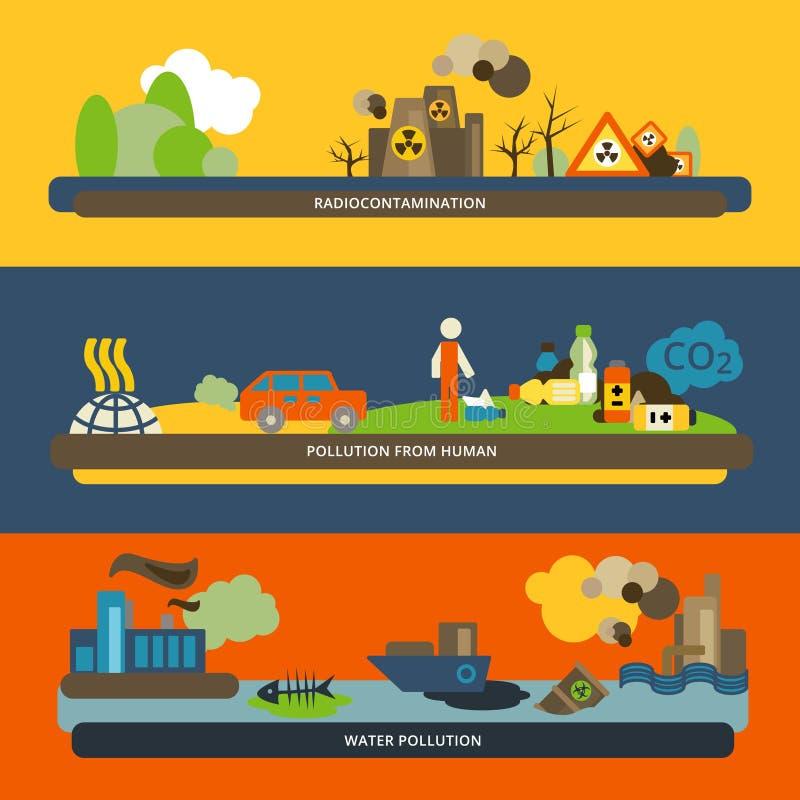 Banderas planas de la contaminación libre illustration