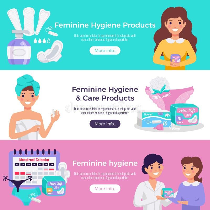 Banderas planas de la higiene femenina libre illustration
