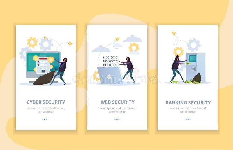 Banderas planas de la seguridad cibernética ilustración del vector
