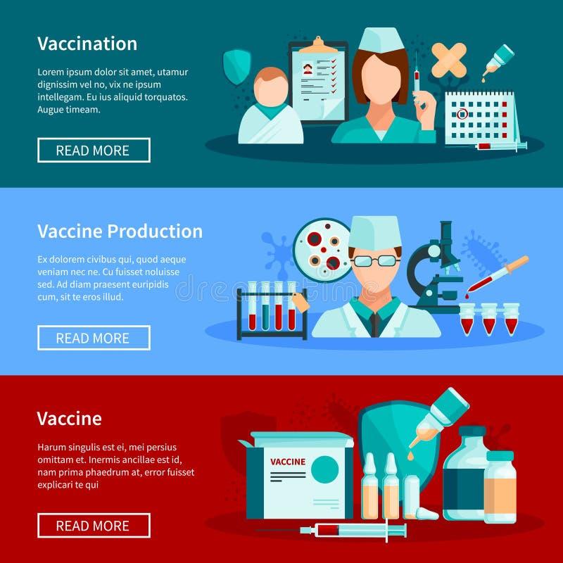 Banderas planas de la vacunación ilustración del vector