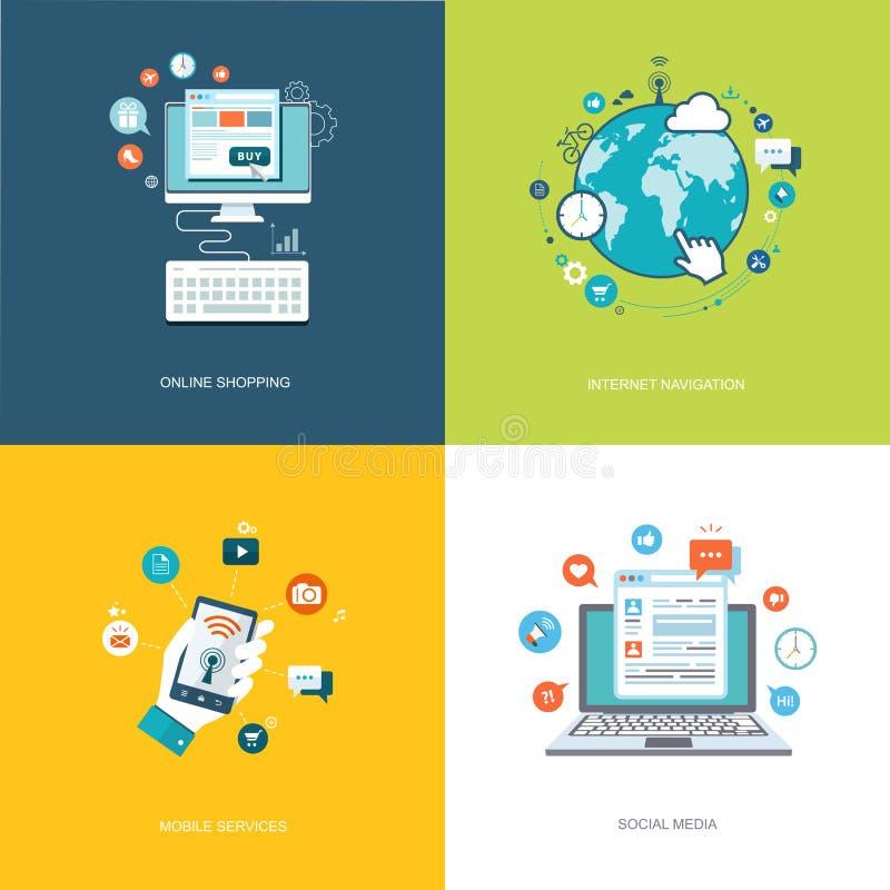 Banderas planas de las tecnologías de Internet fijadas Medios sociales, Internet n libre illustration