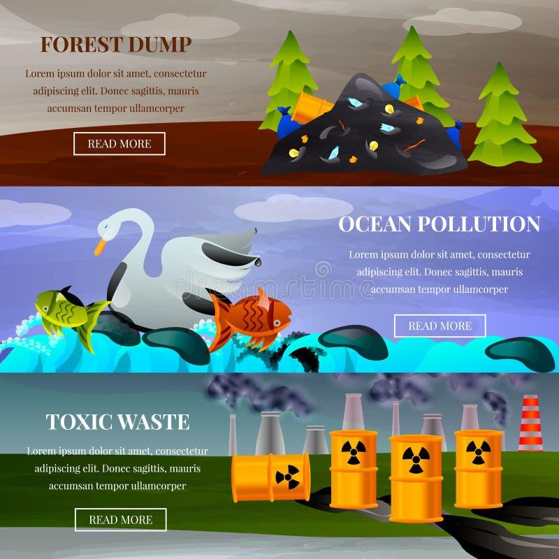 Banderas planas de los problemas ecológicos stock de ilustración