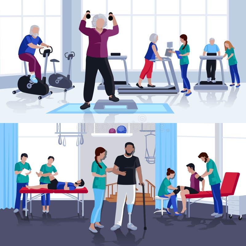 Banderas planas del centro de rehabilitación 2 de la fisioterapia stock de ilustración