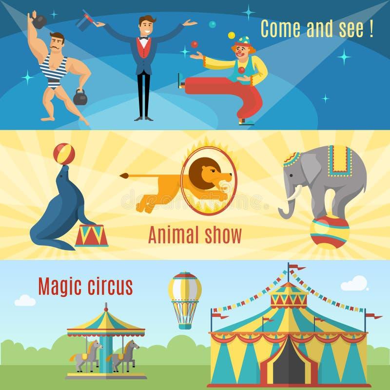 Banderas planas del circo stock de ilustración