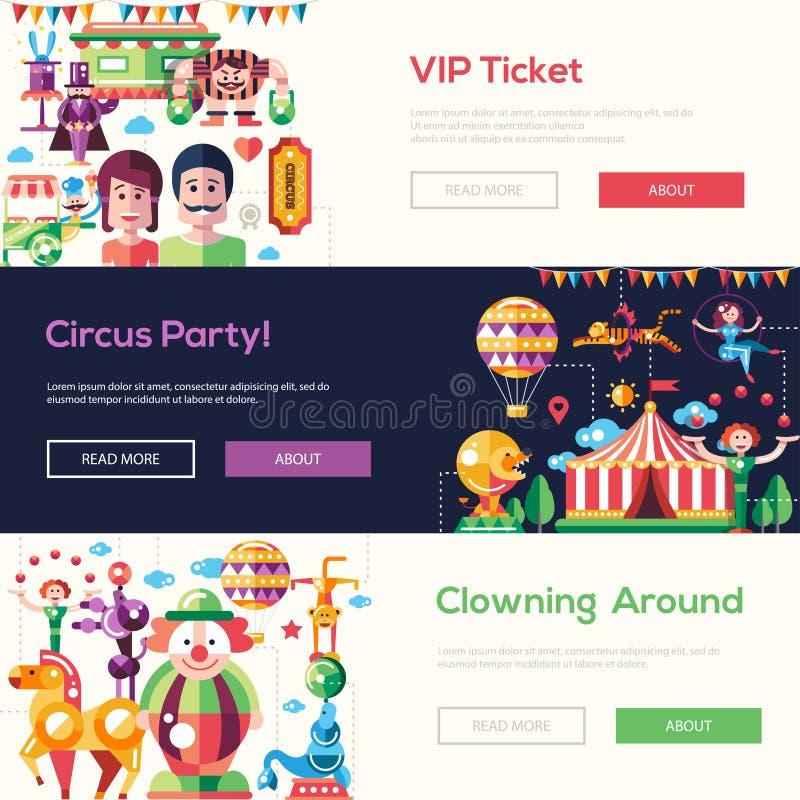 Banderas planas del circo y del carnaval del diseño, jefes fijados stock de ilustración
