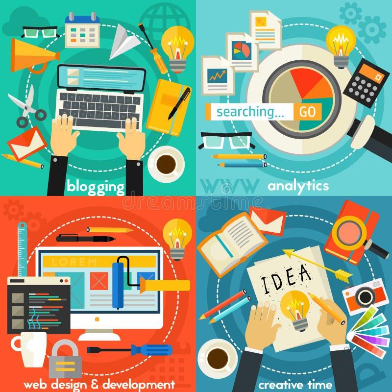 Banderas planas del concepto Analytics, creatividad, el Blogging, diseño web y desarrollo ilustración del vector