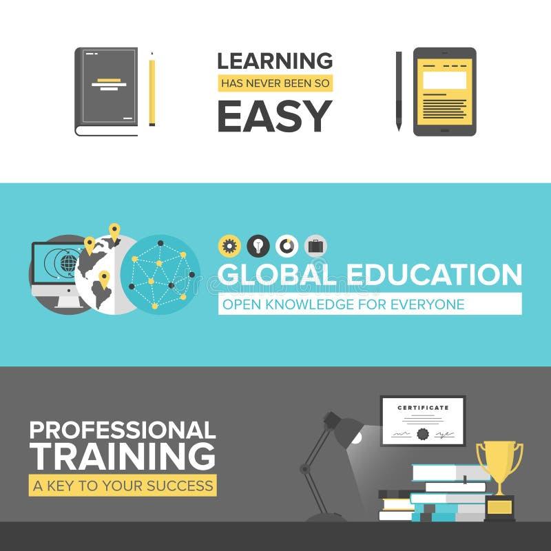 Banderas planas del diseño de la educación global libre illustration