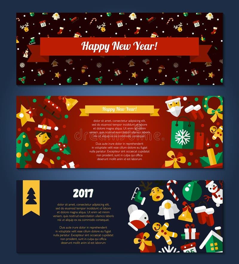 Banderas planas del diseño de la Feliz Navidad y de la Feliz Año Nuevo fijadas ilustración del vector