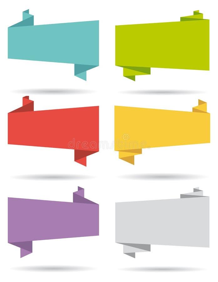 Banderas planas del diseño UI fijadas. stock de ilustración