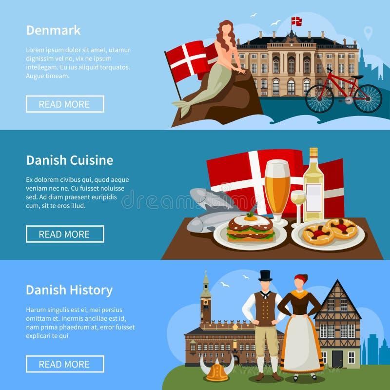 Banderas planas del estilo de las señales danesas fijadas stock de ilustración