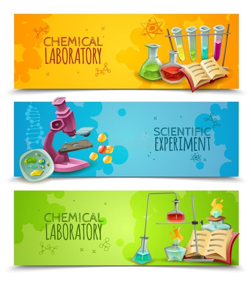 Banderas planas del laboratorio químico científico fijadas stock de ilustración