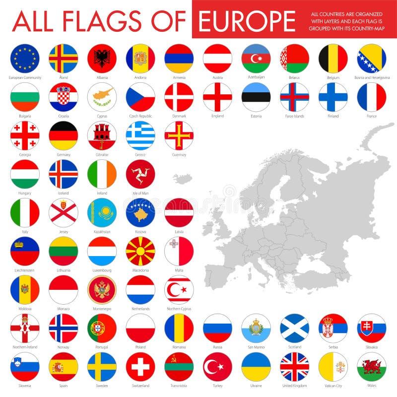 Banderas planas grandes del botón fijadas - países europeos ilustración del vector