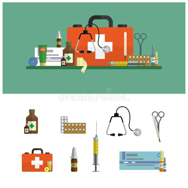 Banderas planas médicas de la atención sanitaria Los iconos de los primeros auxilios fijan y diseñan elementos Herramientas médic libre illustration