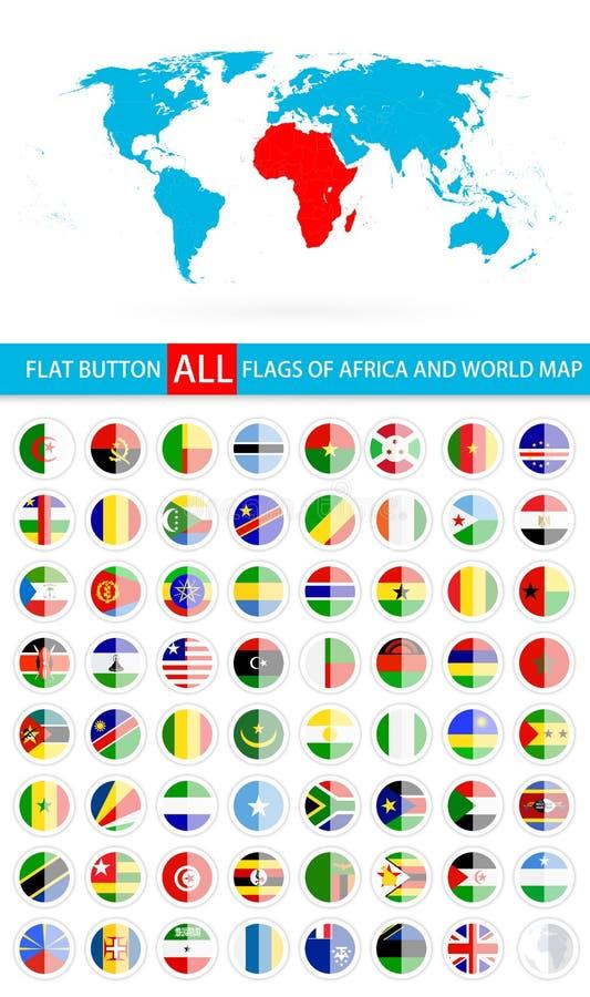 Banderas planas redondas del botón del conjunto completo y del mapa del mundo de África libre illustration