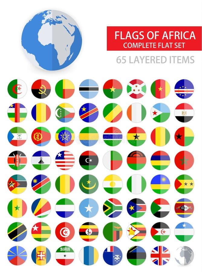 Banderas planas redondas del conjunto completo de África ilustración del vector