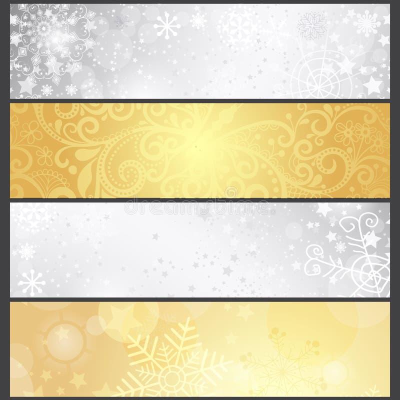 Banderas plateadas y de oro determinadas del invierno de la pendiente stock de ilustración