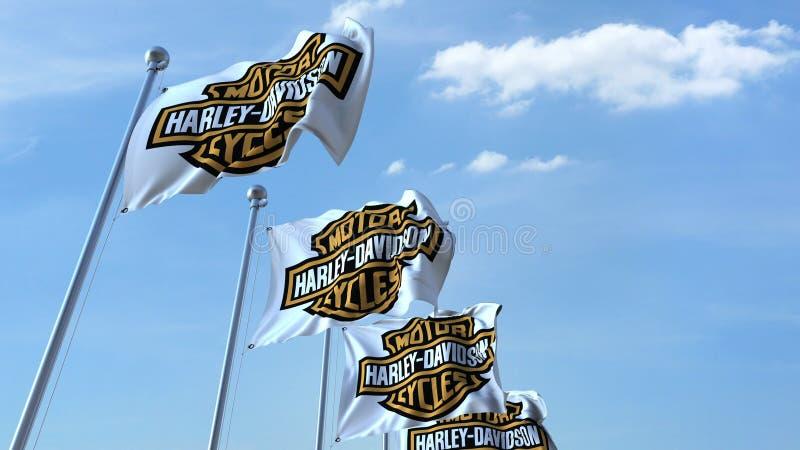 Banderas que agitan con el logotipo de Harley-Davidson contra el cielo, representación editorial 3D libre illustration