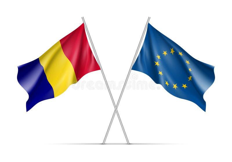 Banderas que agitan de Rumania y de la unión europea ilustración del vector