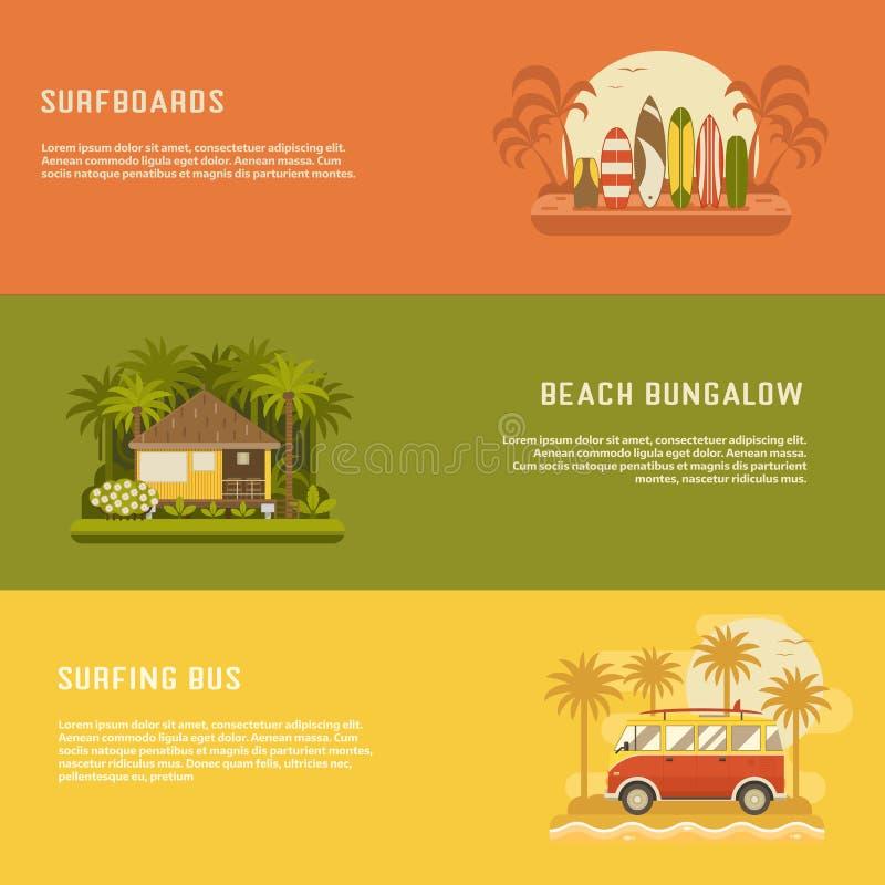 Banderas que practican surf fijadas ilustración del vector