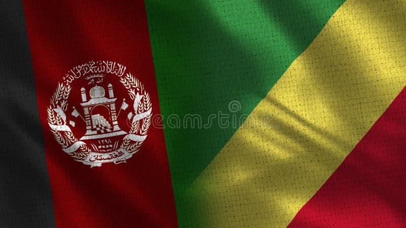 Banderas realistas de Afganistán y del República del Congo medias junto imágenes de archivo libres de regalías