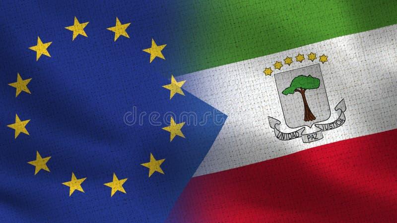 Banderas realistas de la UE y de la Guinea Ecuatorial medias junto libre illustration