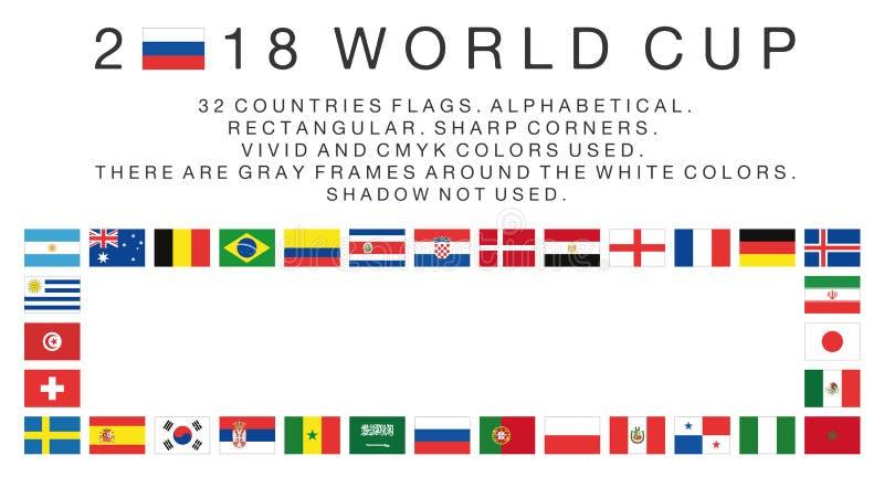 Banderas rectangulares de los países de 2018 mundiales ilustración del vector