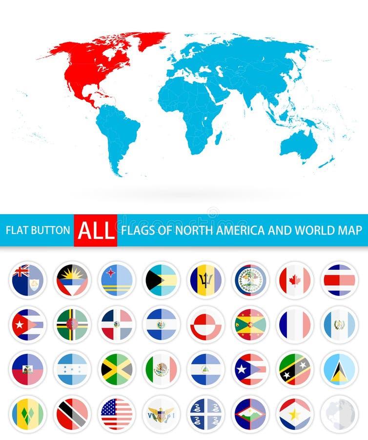 Banderas redondas planas del conjunto completo y del mapa del mundo de Norteamérica libre illustration
