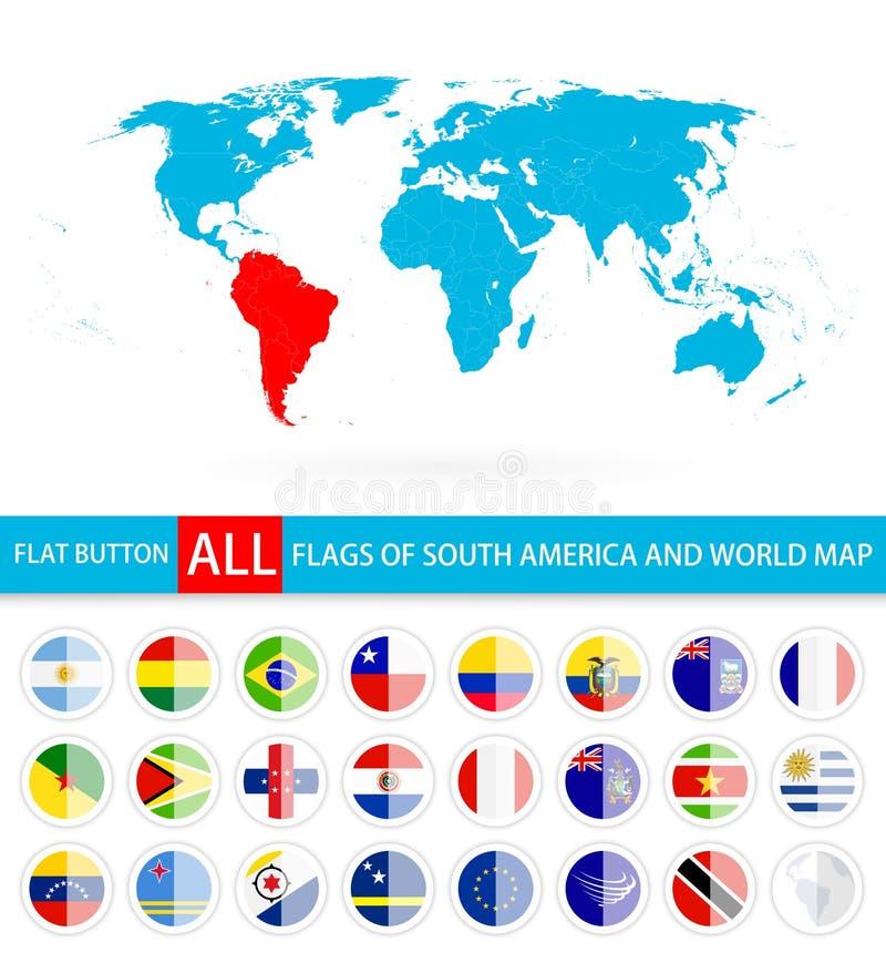 Banderas redondas planas del conjunto completo y del mapa del mundo de Suramérica libre illustration