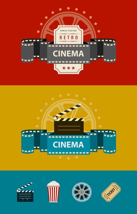 Banderas retras de la cinematografía con diseño plano de los iconos ilustración del vector