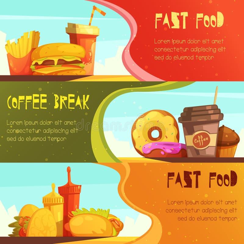 Banderas retras de los alimentos de preparación rápida 2 fijadas stock de ilustración