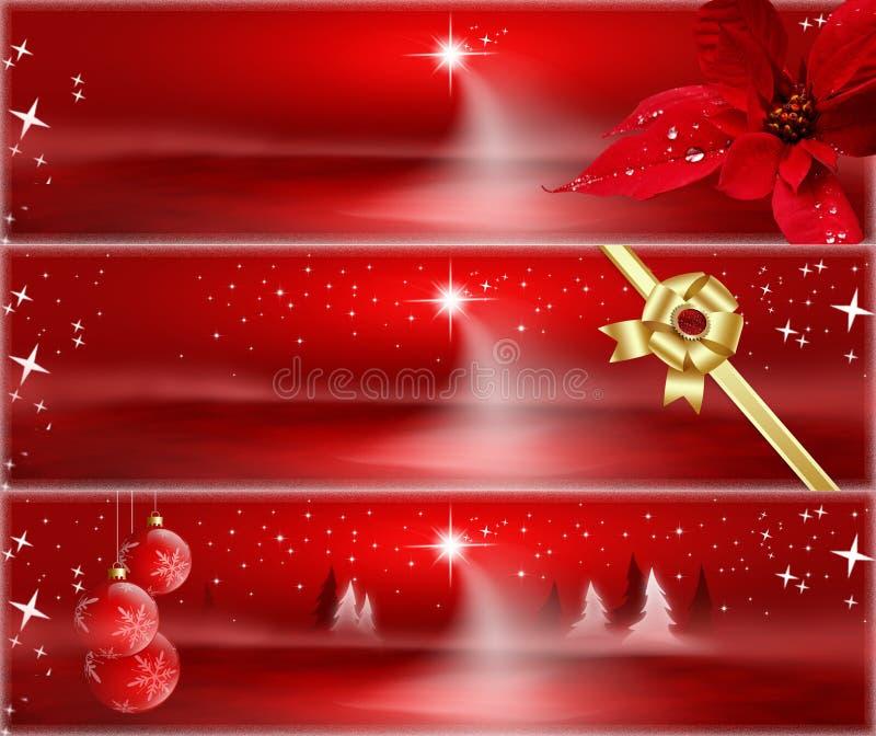 Banderas rojas de la Navidad stock de ilustración