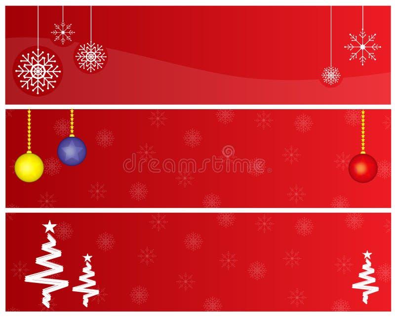 Banderas rojas de la Navidad ilustración del vector