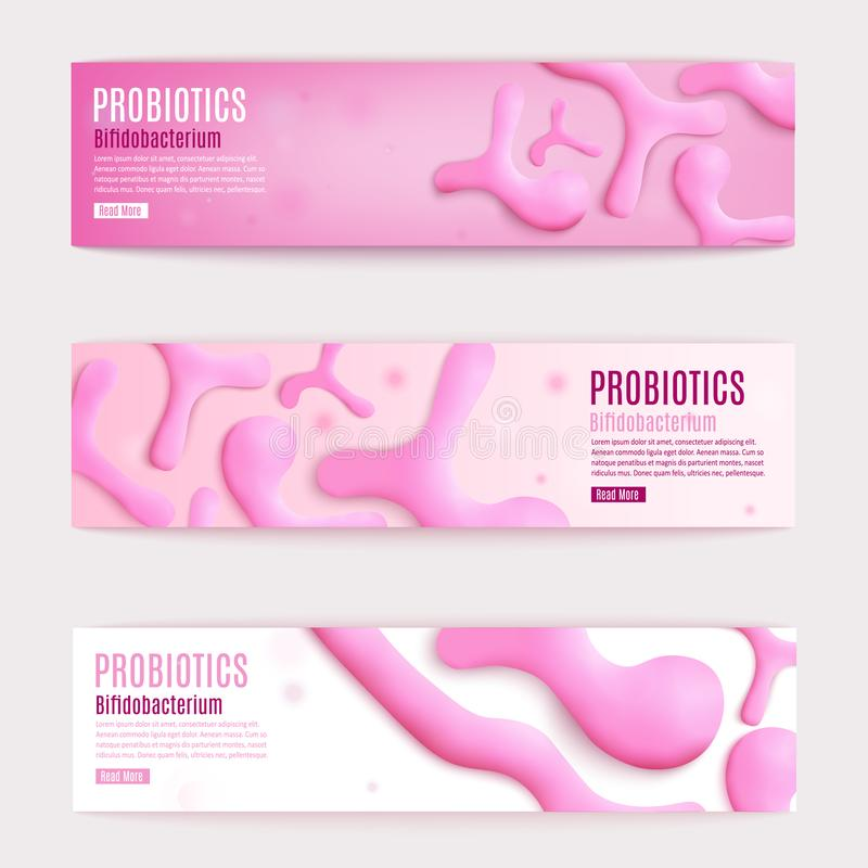 Banderas rosadas horizontales del web del vector de Probiotics fijadas stock de ilustración