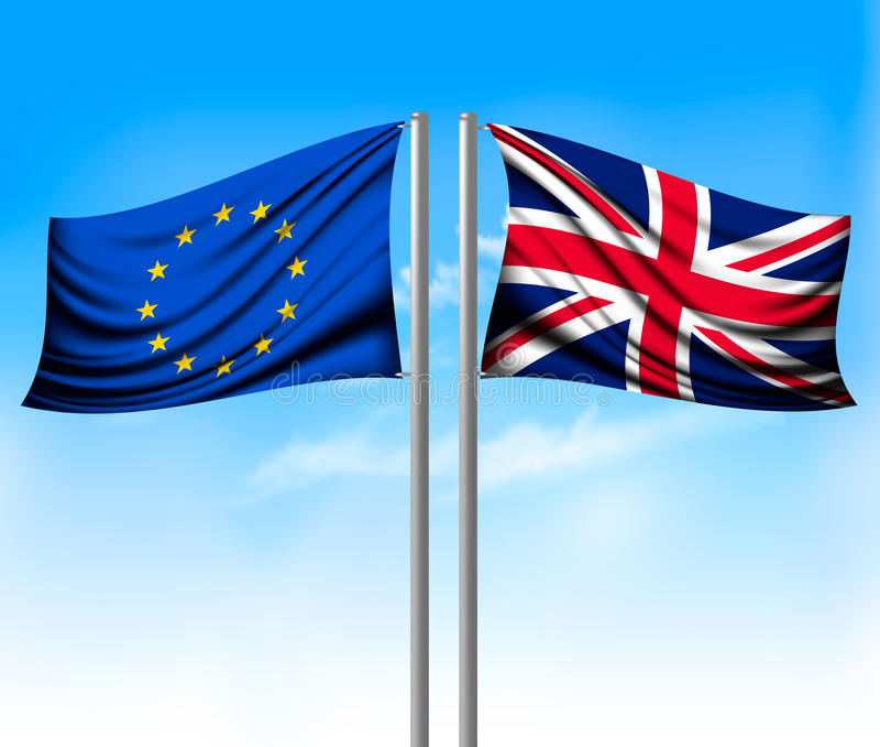 Banderas separadas del Wo - UE y Reino Unido Concepto de Brexit ilustración del vector