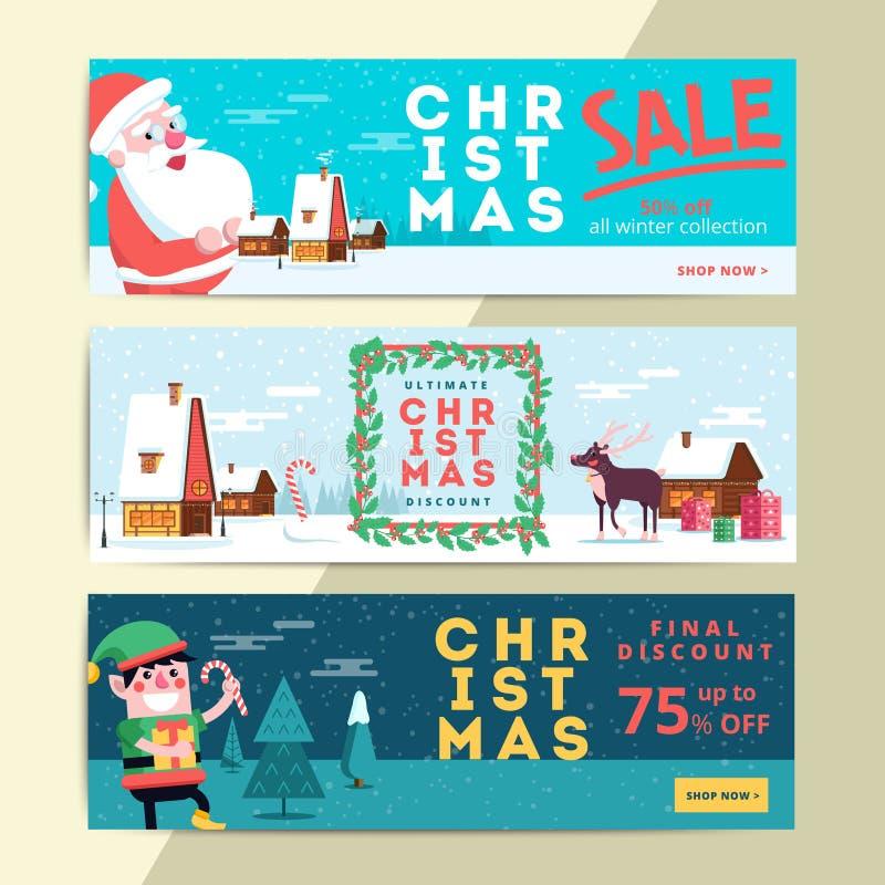 Banderas sociales de la venta de la Navidad medias para el anuncio móvil del sitio web Navidad libre illustration