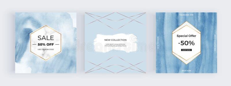 Banderas sociales de los medios de la promoción de la moda Tarjeta azul de la acuarela con la línea de mármol, de oro marco Textu stock de ilustración