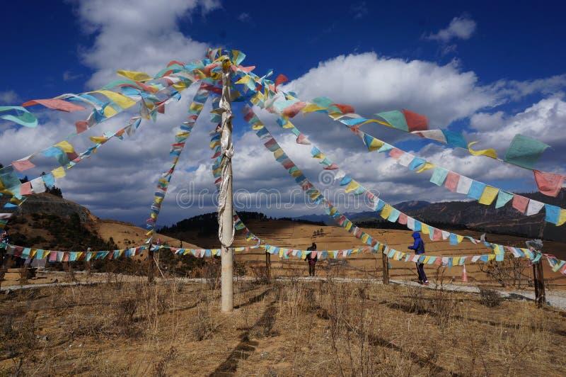 Banderas tibetanas del rezo imagenes de archivo