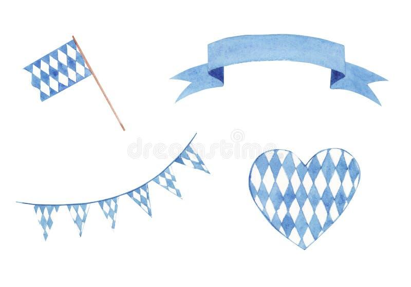 Banderas tradicionales y banderas de Oktoberfest de la acuarela exhausta de la mano fijadas aisladas en el fondo blanco stock de ilustración
