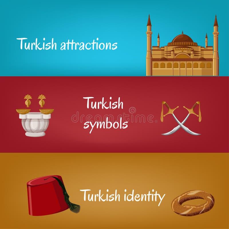 Banderas turísticas turcas con los símbolos tradicionales Fes, simit, espadas, hammam, Hagia Sophia stock de ilustración