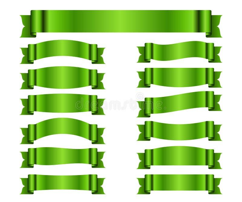 Banderas verdes de la cinta fijadas de seda libre illustration
