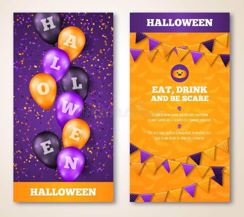 Banderas verticales de Halloween con los globos y la bandera ilustración del vector