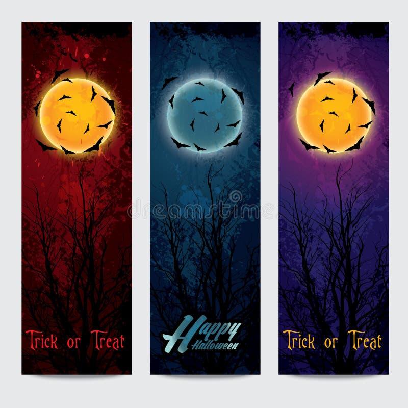 Banderas verticales de Halloween fijadas con la luna stock de ilustración