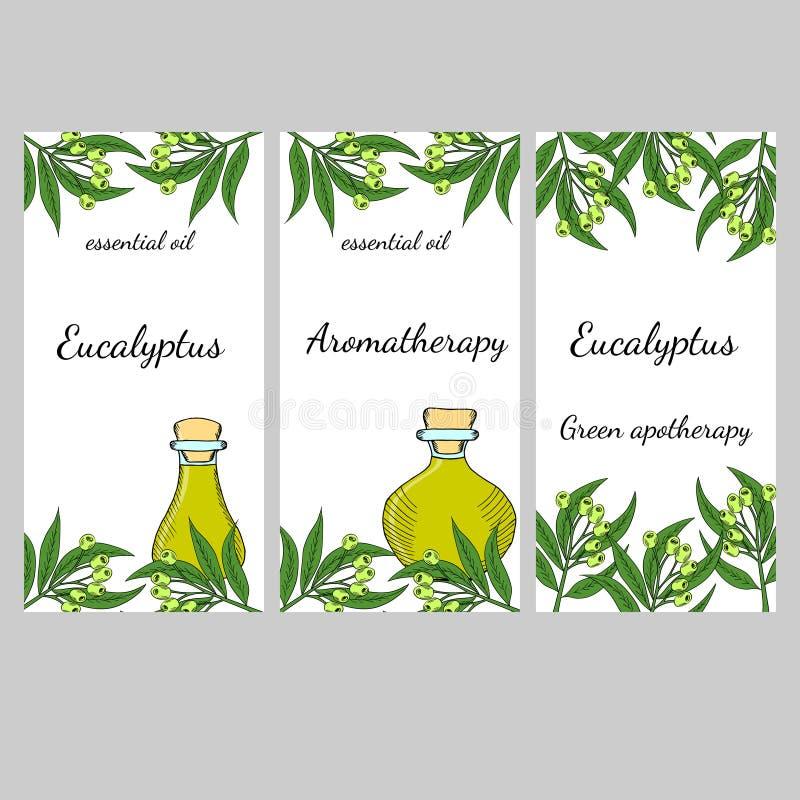 Banderas verticales de la esencia de eucalipto, sistema libre illustration