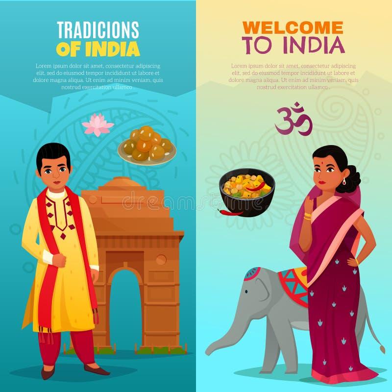 Banderas verticales de la India fijadas stock de ilustración