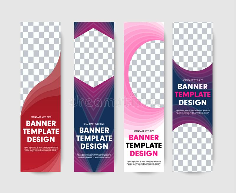 Banderas verticales de la web de la plantilla con las formas abstractas para las fotos libre illustration